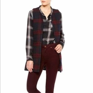 Sanctuary Cecilia Plaid Long Vest Size M